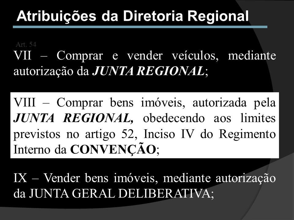 Atribuições da Diretoria Regional Art. 54 VII – Comprar e vender veículos, mediante autorização da JUNTA REGIONAL; VIII – Comprar bens imóveis, autori