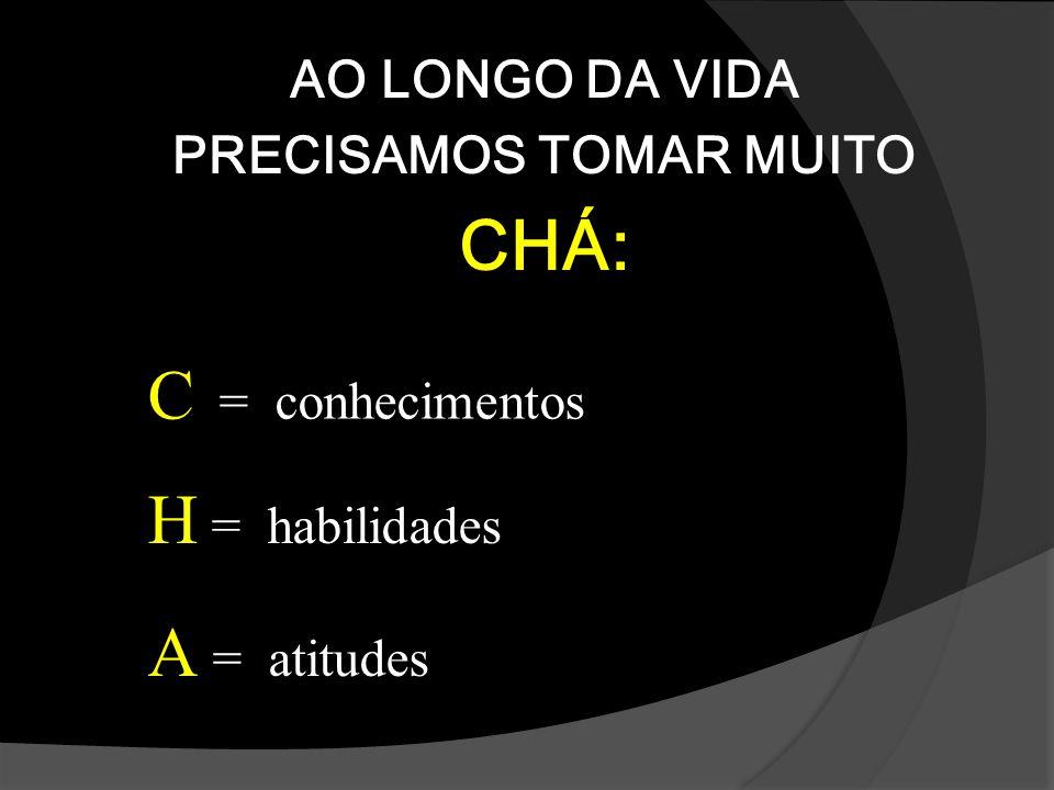 AO LONGO DA VIDA PRECISAMOS TOMAR MUITO CHÁ: C = conhecimentos H = habilidades A = atitudes