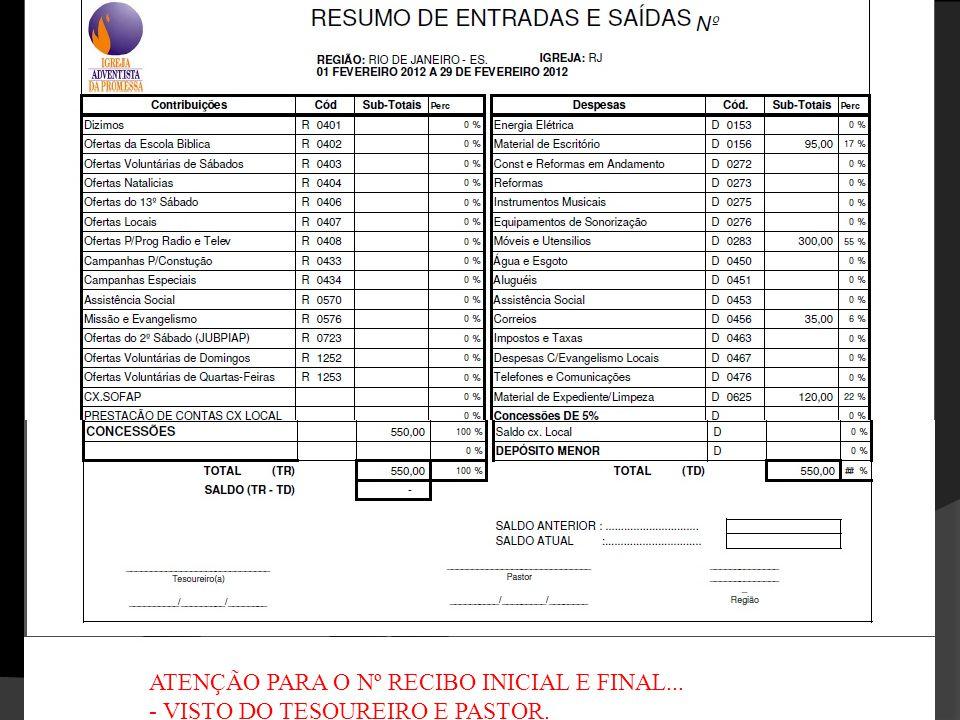 ATENÇÃO PARA O Nº RECIBO INICIAL E FINAL... - VISTO DO TESOUREIRO E PASTOR.