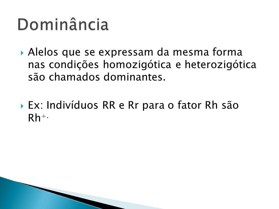  Alelos que se expressam da mesma forma nas condições homozigótica e heterozigótica são chamados dominantes.