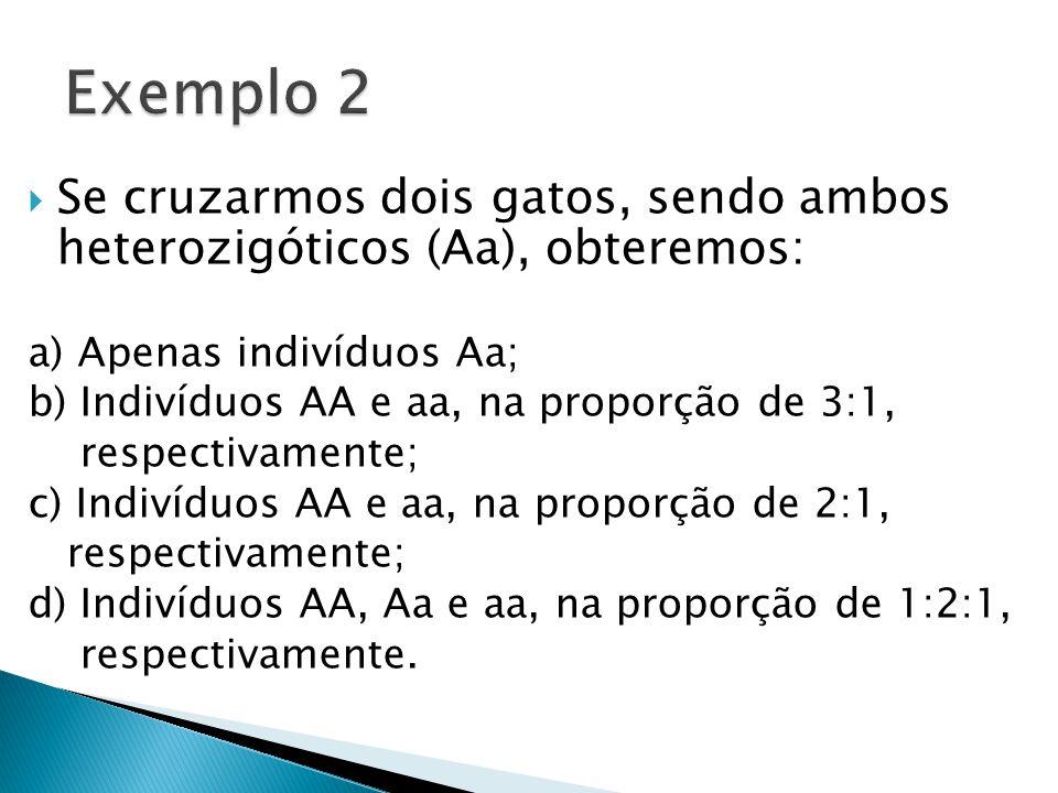  Se cruzarmos dois gatos, sendo ambos heterozigóticos (Aa), obteremos: a) Apenas indivíduos Aa; b) Indivíduos AA e aa, na proporção de 3:1, respectivamente; c) Indivíduos AA e aa, na proporção de 2:1, respectivamente; d) Indivíduos AA, Aa e aa, na proporção de 1:2:1, respectivamente.