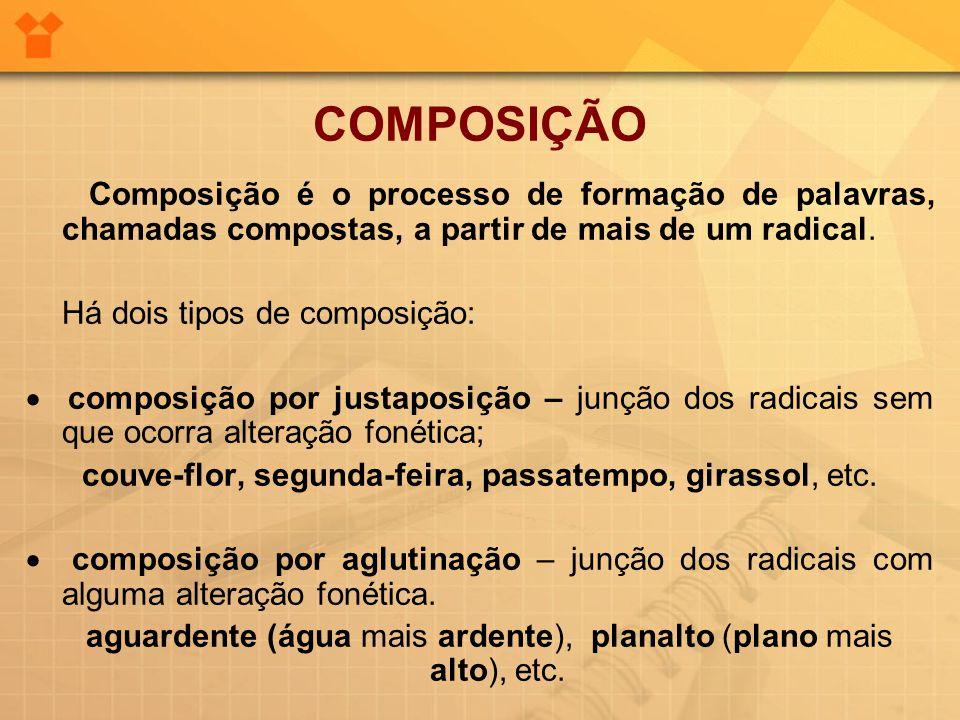 COMPOSIÇÃO Composição é o processo de formação de palavras, chamadas compostas, a partir de mais de um radical. Há dois tipos de composição:  composi