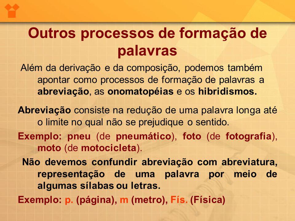 Outros processos de formação de palavras Além da derivação e da composição, podemos também apontar como processos de formação de palavras a abreviação