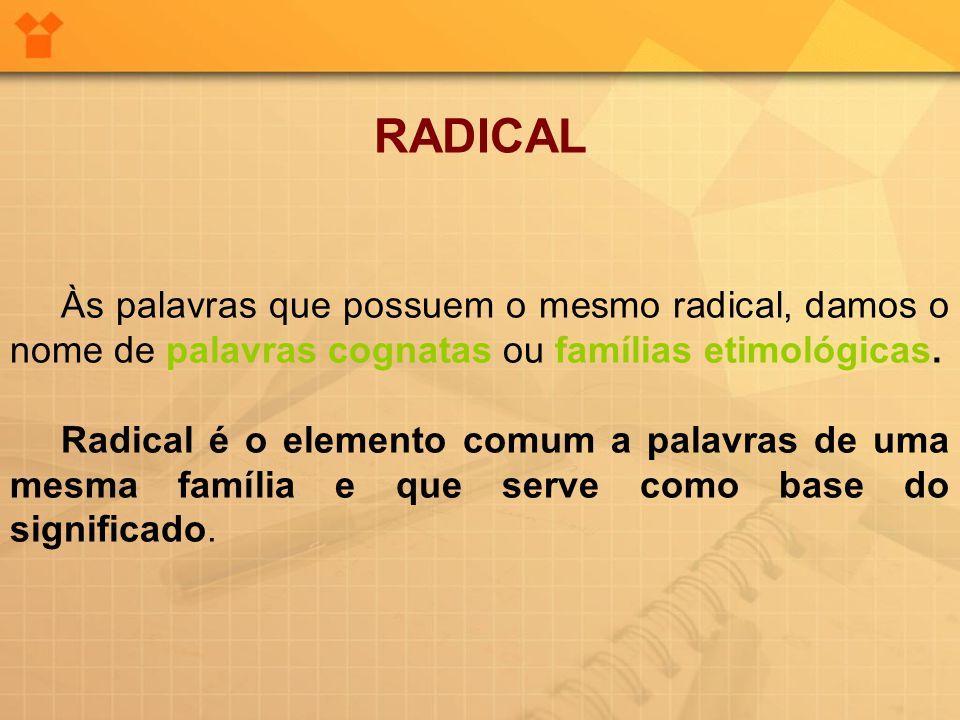 RADICAL Às palavras que possuem o mesmo radical, damos o nome de palavras cognatas ou famílias etimológicas. Radical é o elemento comum a palavras de