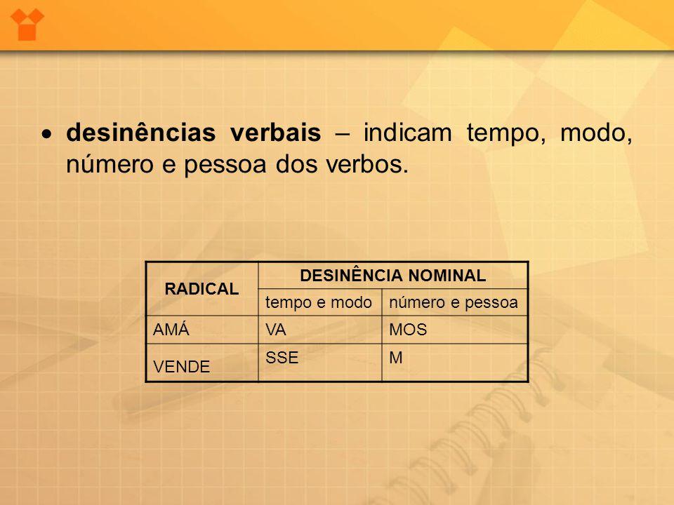  desinências verbais – indicam tempo, modo, número e pessoa dos verbos. RADICAL DESINÊNCIA NOMINAL tempo e modonúmero e pessoa AMÁVAMOS VENDE SSEM