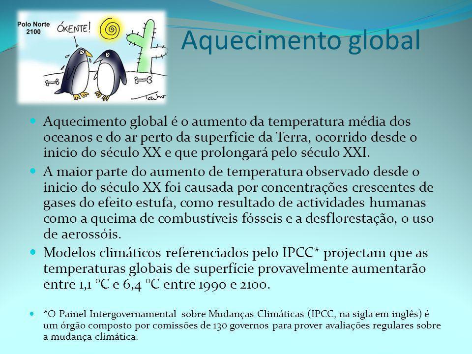 Aquecimento global  Aquecimento global é o aumento da temperatura média dos oceanos e do ar perto da superfície da Terra, ocorrido desde o inicio do século XX e que prolongará pelo século XXI.