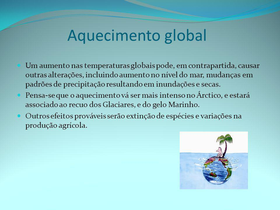 Aquecimento global  Um aumento nas temperaturas globais pode, em contrapartida, causar outras alterações, incluindo aumento no nível do mar, mudanças