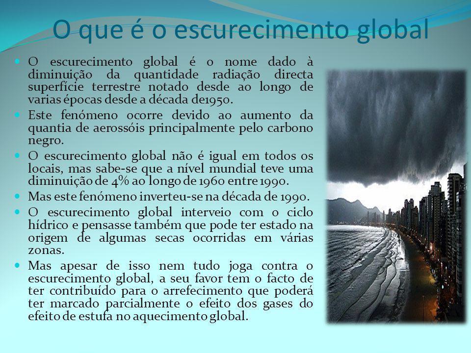 O que é o escurecimento global  O escurecimento global é o nome dado à diminuição da quantidade radiação directa superfície terrestre notado desde ao longo de varias épocas desde a década de1950.