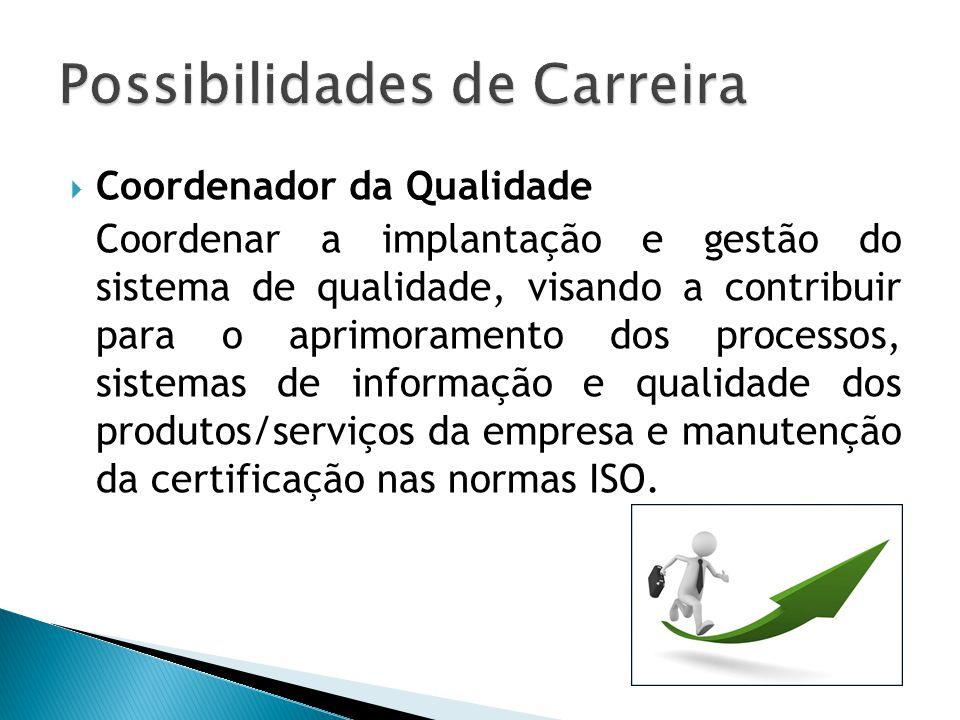  Coordenador da Qualidade Coordenar a implantação e gestão do sistema de qualidade, visando a contribuir para o aprimoramento dos processos, sistemas