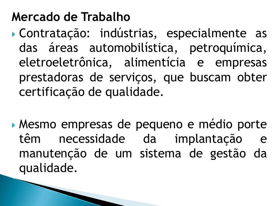 Mercado de Trabalho  Contratação: indústrias, especialmente as das áreas automobilística, petroquímica, eletroeletrônica, alimentícia e empresas pres