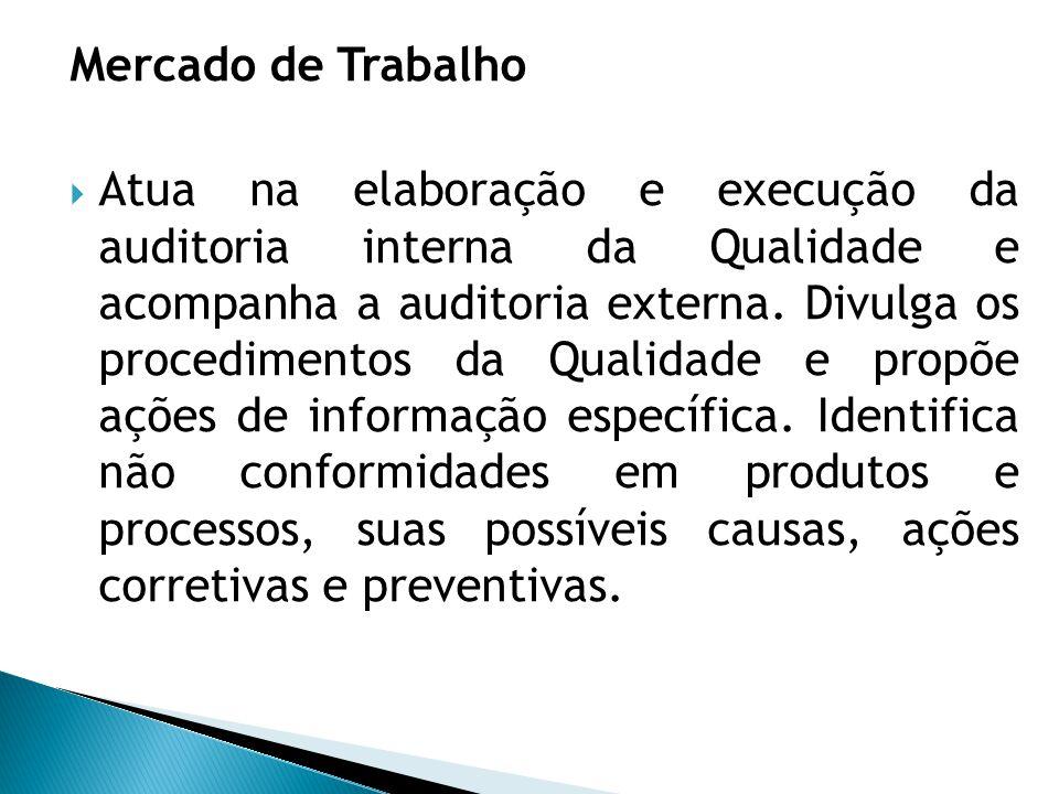 Mercado de Trabalho  Atua na elaboração e execução da auditoria interna da Qualidade e acompanha a auditoria externa. Divulga os procedimentos da Qua