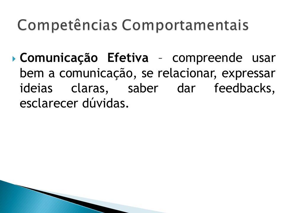  Comunicação Efetiva – compreende usar bem a comunicação, se relacionar, expressar ideias claras, saber dar feedbacks, esclarecer dúvidas.