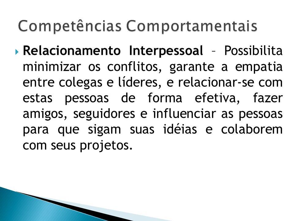  Relacionamento Interpessoal – Possibilita minimizar os conflitos, garante a empatia entre colegas e líderes, e relacionar-se com estas pessoas de fo