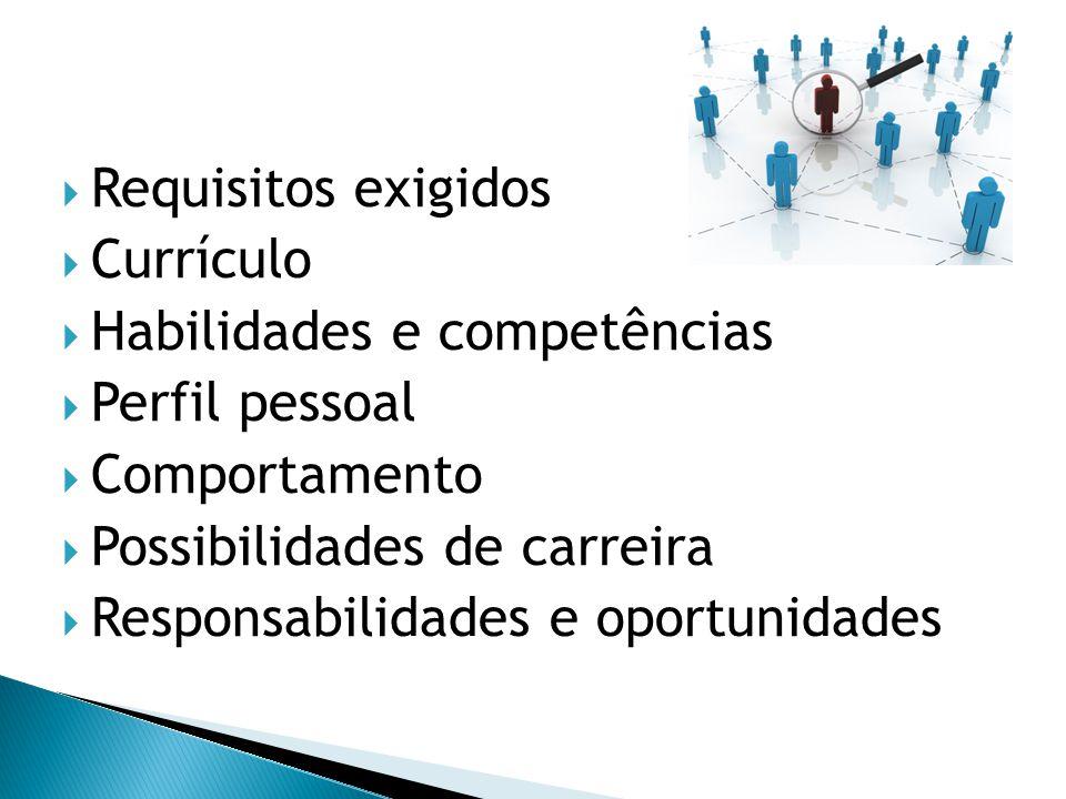  Requisitos exigidos  Currículo  Habilidades e competências  Perfil pessoal  Comportamento  Possibilidades de carreira  Responsabilidades e opo