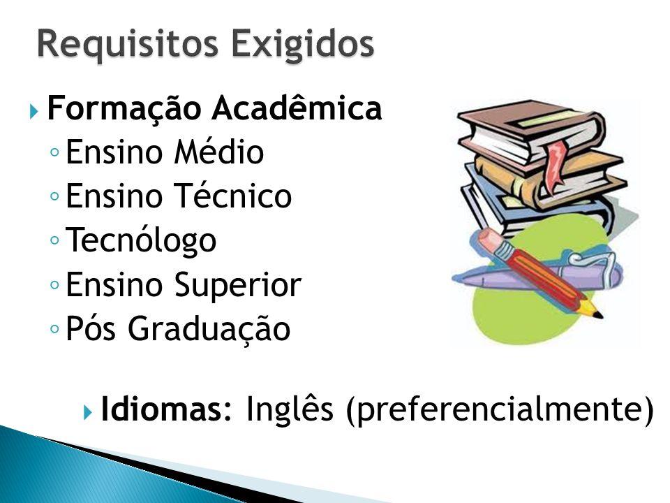  Formação Acadêmica ◦ Ensino Médio ◦ Ensino Técnico ◦ Tecnólogo ◦ Ensino Superior ◦ Pós Graduação  Idiomas: Inglês (preferencialmente)