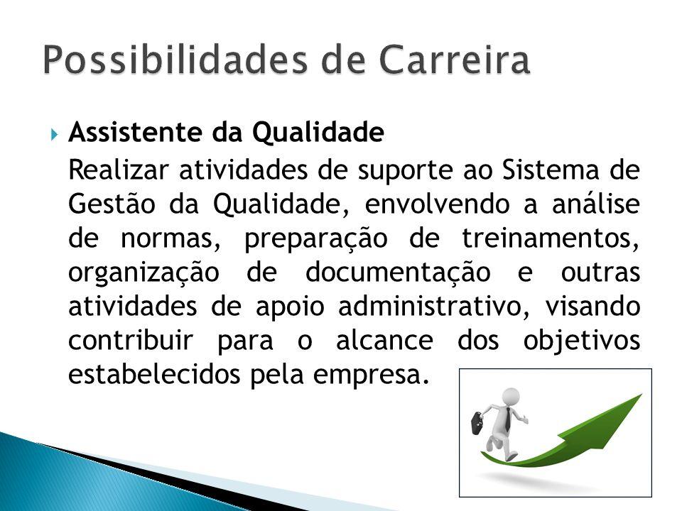  Assistente da Qualidade Realizar atividades de suporte ao Sistema de Gestão da Qualidade, envolvendo a análise de normas, preparação de treinamentos