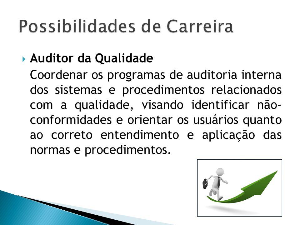  Auditor da Qualidade Coordenar os programas de auditoria interna dos sistemas e procedimentos relacionados com a qualidade, visando identificar não-