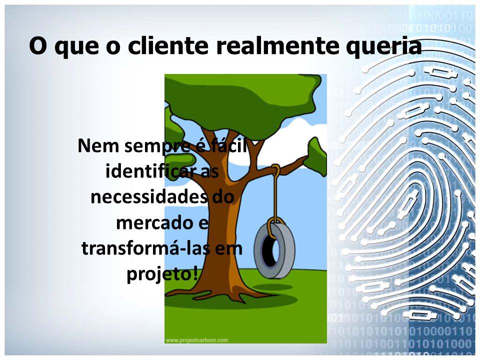 O que o cliente realmente queria Nem sempre é fácil identificar as necessidades do mercado e transformá-las em projeto!