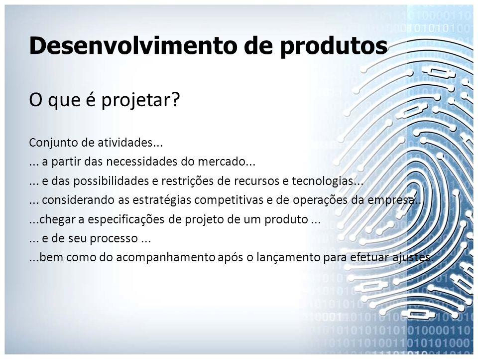 Desenvolvimento de produtos O que é projetar? Conjunto de atividades...... a partir das necessidades do mercado...... e das possibilidades e restriçõe
