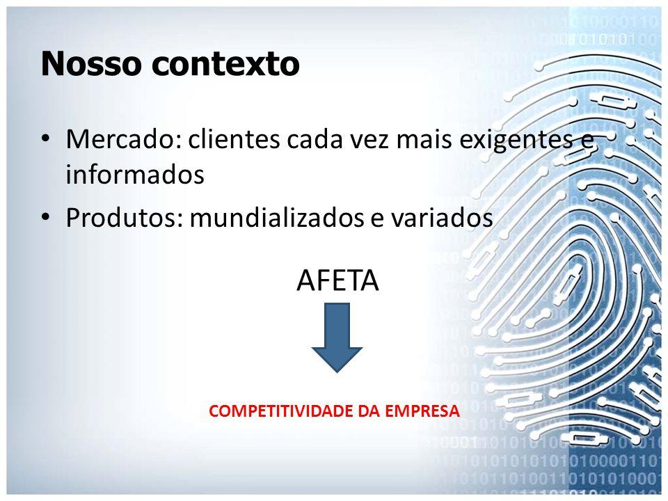 Nosso contexto • Mercado: clientes cada vez mais exigentes e informados • Produtos: mundializados e variados COMPETITIVIDADE DA EMPRESA AFETA