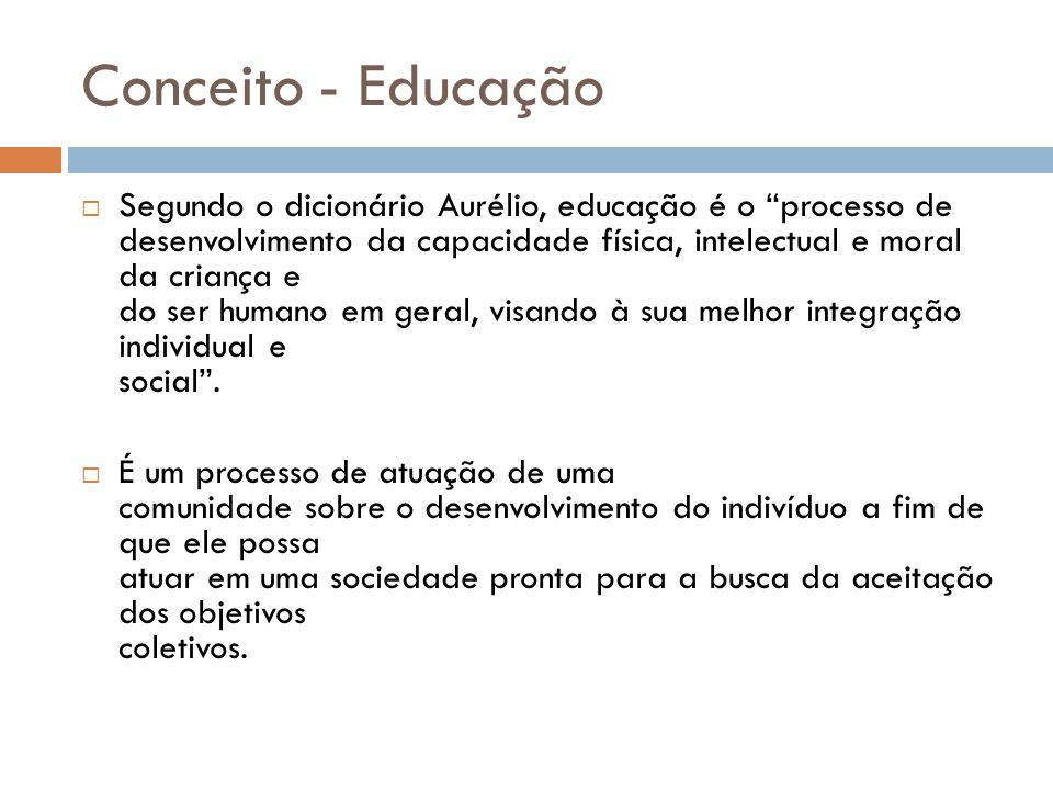 Conceito - Educação  Segundo o dicionário Aurélio, educação é o processo de desenvolvimento da capacidade física, intelectual e moral da criança e do ser humano em geral, visando à sua melhor integração individual e social .