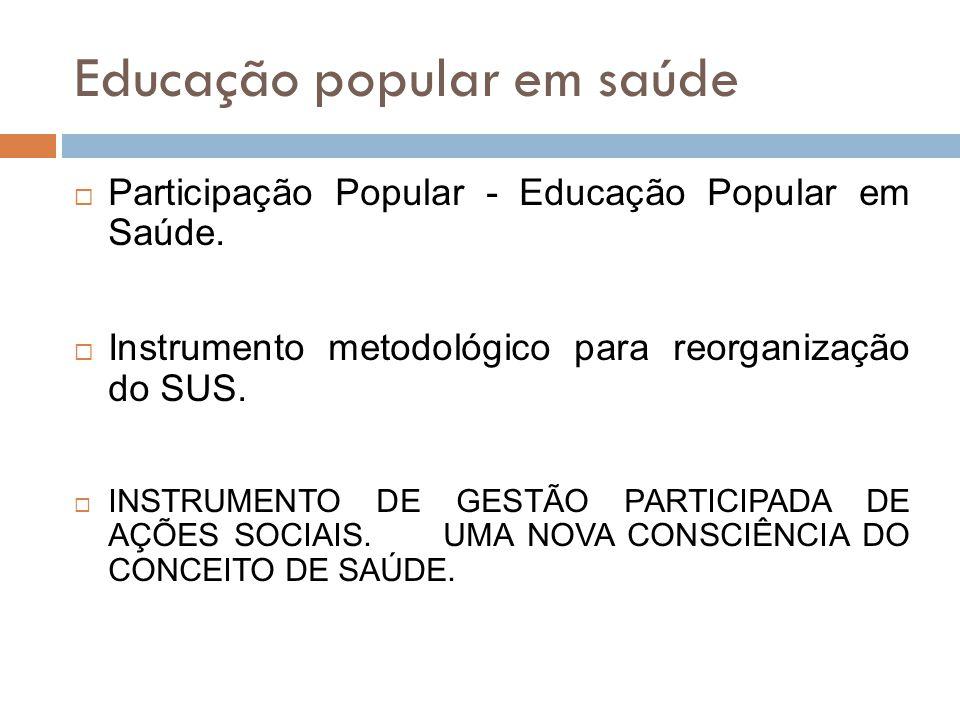 Educação popular em saúde  Participação Popular - Educação Popular em Saúde.