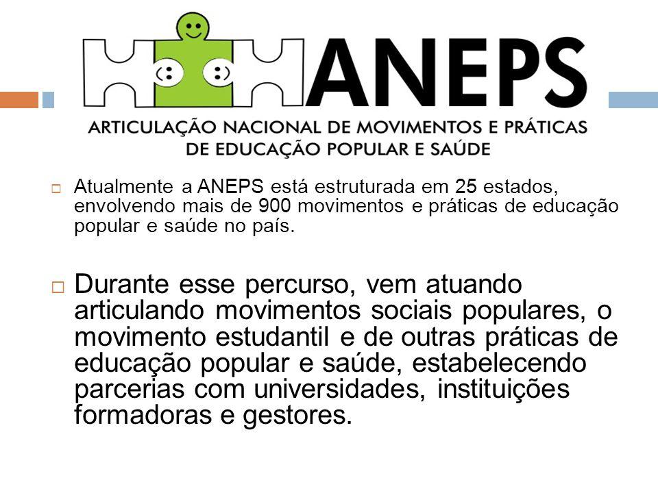  Atualmente a ANEPS está estruturada em 25 estados, envolvendo mais de 900 movimentos e práticas de educação popular e saúde no país.