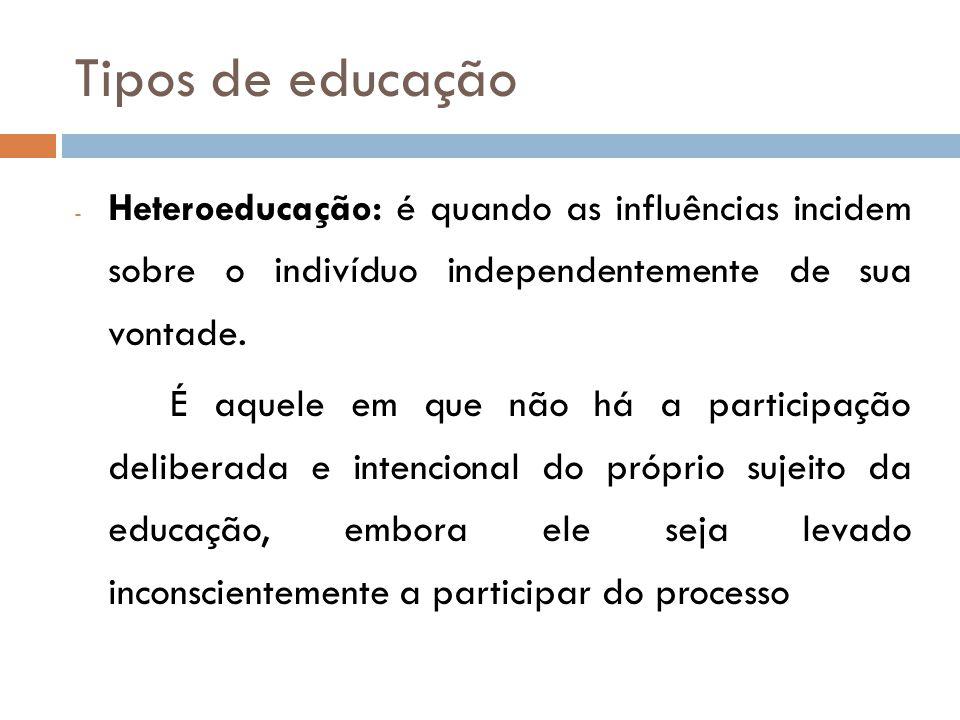 Tipos de educação - Heteroeducação: é quando as influências incidem sobre o indivíduo independentemente de sua vontade.