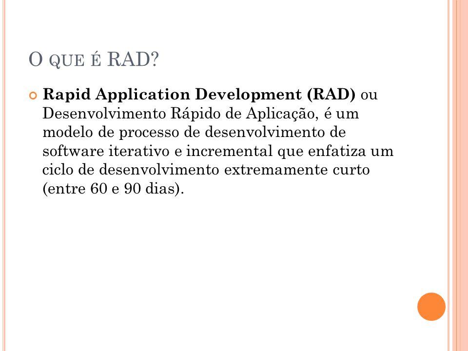 O QUE É RAD? Rapid Application Development (RAD) ou Desenvolvimento Rápido de Aplicação, é um modelo de processo de desenvolvimento de software iterat