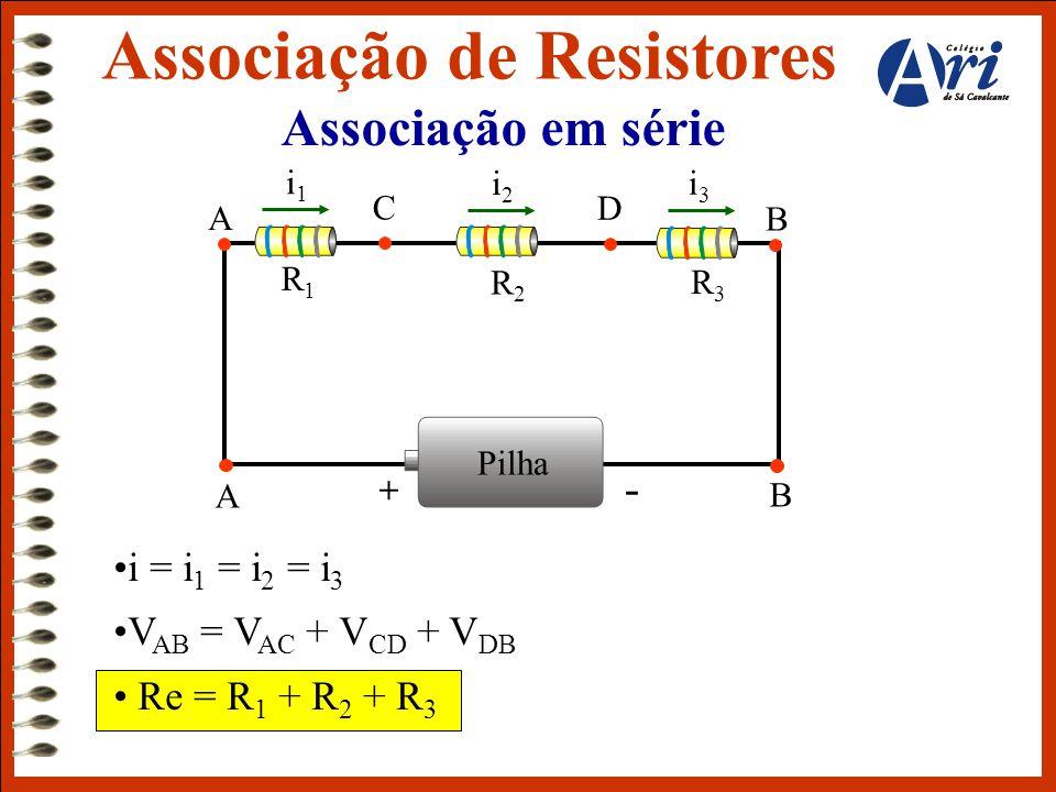 Associação em série •i = i 1 = i 2 = i 3 •V AB = V AC + V CD + V DB • Re = R 1 + R 2 + R 3 Associação de Resistores Pilha + - i1i1 i3i3 A B R1R1 R2R2