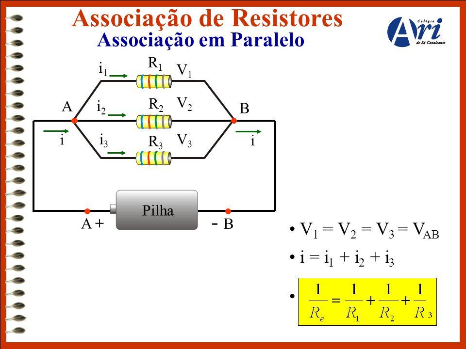 Associação em Paralelo Associação de Resistores • V 1 = V 2 = V 3 = V AB • i = i 1 + i 2 + i 3 • j Pilha A + - B i i A B R1R1 V1V1 R3R3 R2R2 V2V2 V3V3