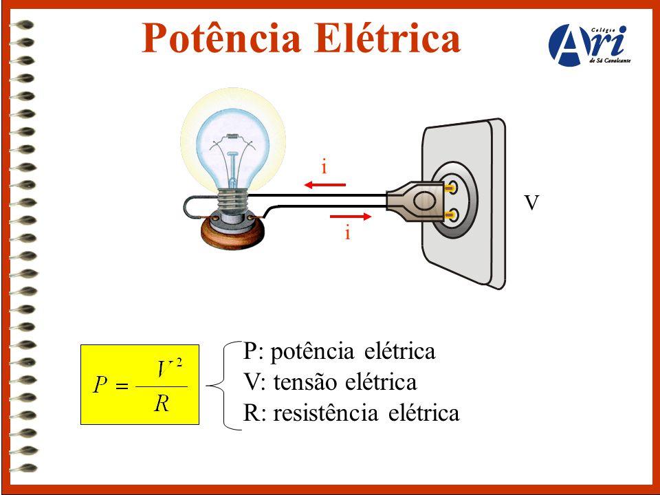 P: potência elétrica V: tensão elétrica R: resistência elétrica V i i