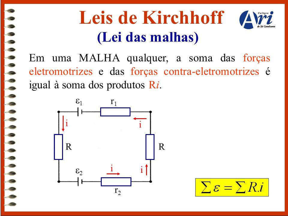 Leis de Kirchhoff (Lei das malhas) Em uma MALHA qualquer, a soma das forças eletromotrizes e das forças contra-eletromotrizes é igual à soma dos produ