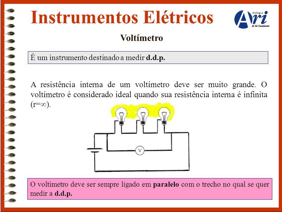 Instrumentos Elétricos Voltímetro É um instrumento destinado a medir d.d.p. A resistência interna de um voltímetro deve ser muito grande. O voltímetro