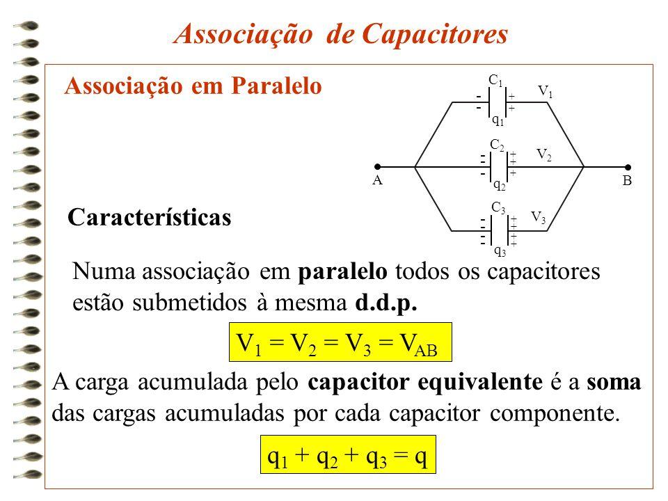 Associação em Paralelo Associação de Capacitores Numa associação em paralelo todos os capacitores estão submetidos à mesma d.d.p. A carga acumulada pe