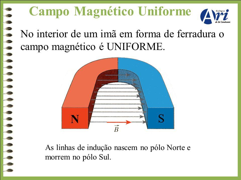 Campo Magnético Uniforme No interior de um imã em forma de ferradura o campo magnético é UNIFORME. As linhas de indução nascem no pólo Norte e morrem