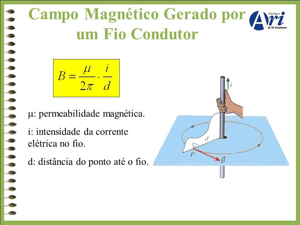 Campo Magnético Gerado por um Fio Condutor.  : permeabilidade magnética. i: intensidade da corrente elétrica no fio. d: distância do ponto até o fio.
