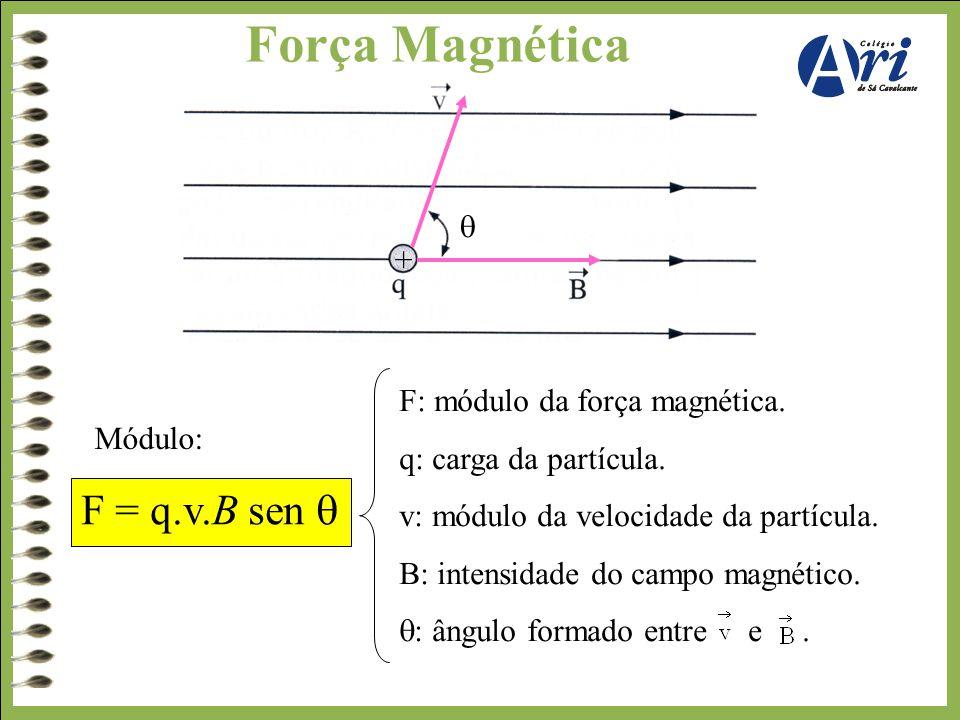 Força Magnética Módulo: F: módulo da força magnética. q: carga da partícula. v: módulo da velocidade da partícula. B: intensidade do campo magnético.