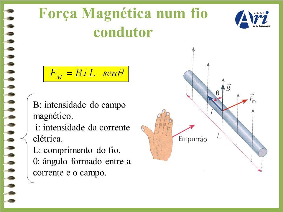 Força Magnética num fio condutor B: intensidade do campo magnético. i: intensidade da corrente elétrica. L: comprimento do fio.  : ângulo formado ent