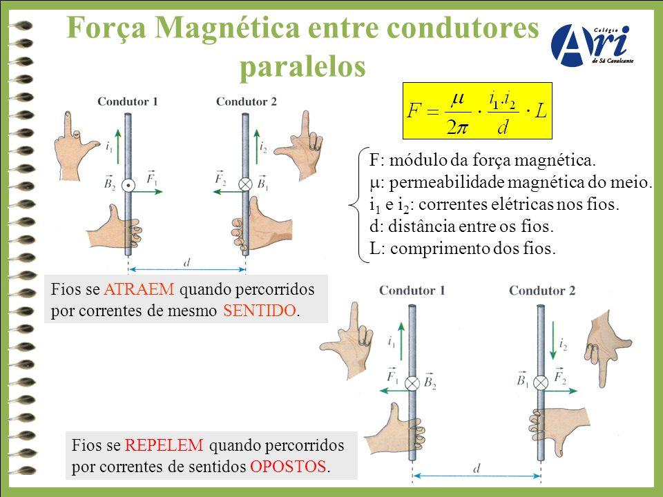 Força Magnética entre condutores paralelos F: módulo da força magnética.  : permeabilidade magnética do meio. i 1 e i 2 : correntes elétricas nos fio