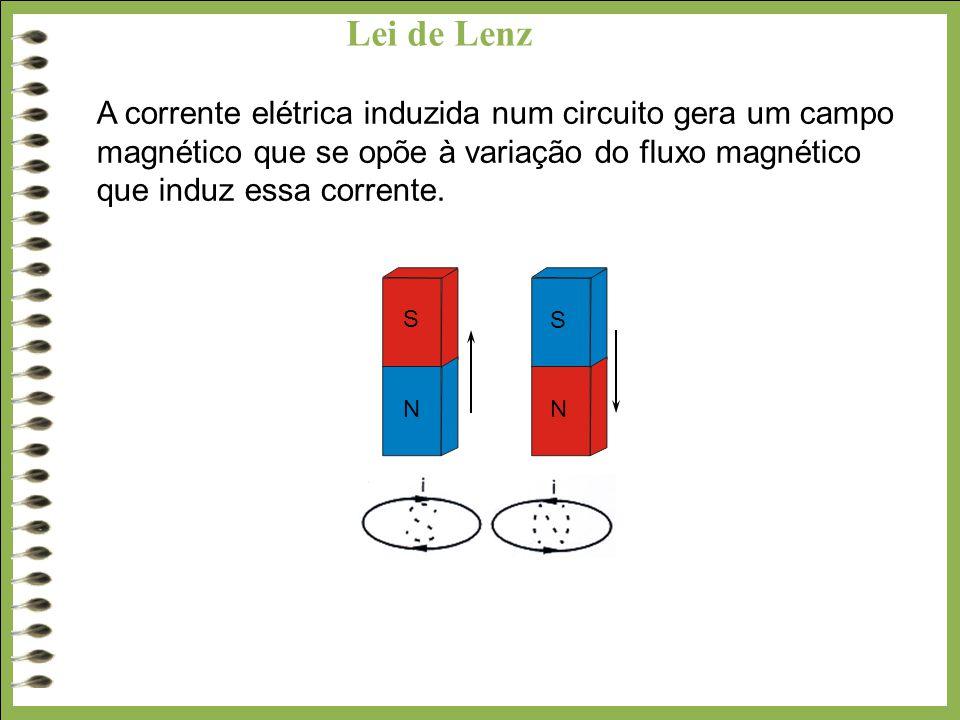 Lei de Lenz A corrente elétrica induzida num circuito gera um campo magnético que se opõe à variação do fluxo magnético que induz essa corrente. S S N