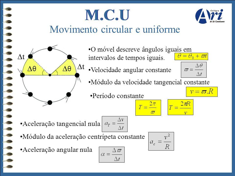 M.C.U Movimento circular e uniforme •O móvel descreve ângulos iguais em intervalos de tempos iguais. •Velocidade angular constante •Módulo da velocida