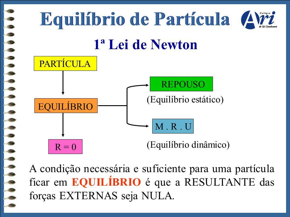 1ª Lei de Newton PARTÍCULA EQUILÍBRIO R = 0 REPOUSO M. R. U (Equilíbrio estático) (Equilíbrio dinâmico) A condição necessária e suficiente para uma pa