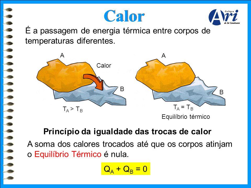 A Calor B T A > T B A B T A = T B Equilíbrio térmico É a passagem de energia térmica entre corpos de temperaturas diferentes. Princípio da igualdade d