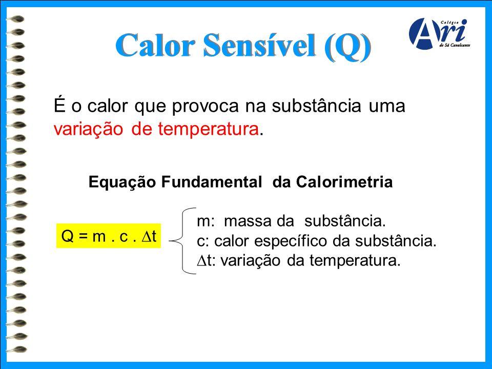 Calor Sensível (Q) É o calor que provoca na substância uma variação de temperatura. Q = m. c.  t Equação Fundamental da Calorimetria m: massa da subs