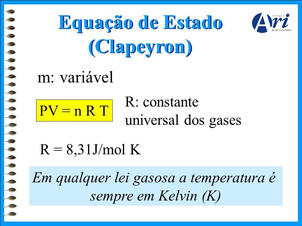 Equação de Estado (Clapeyron) m: variável PV = n R T R: constante universal dos gases R = 8,31J/mol K Em qualquer lei gasosa a temperatura é sempre em