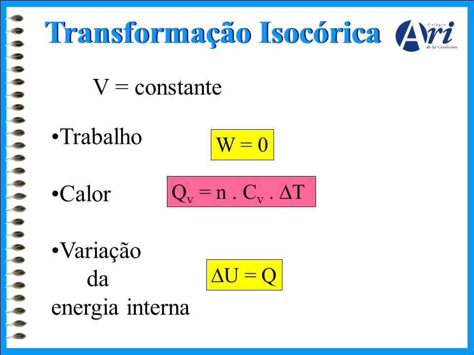 Transformação Isocórica V = constante •Trabalho •Calor •Variação da energia interna W = 0 Q v = n. C v.  T  U = Q