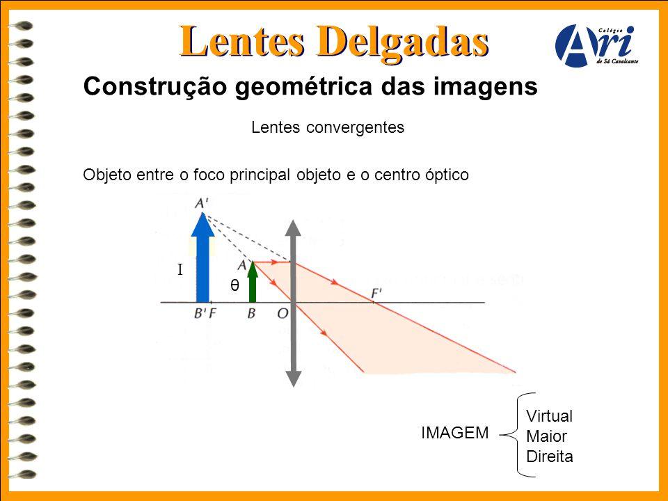 Lentes Delgadas Construção geométrica das imagens Lentes convergentes Objeto entre o foco principal objeto e o centro óptico Virtual Maior Direita IMA