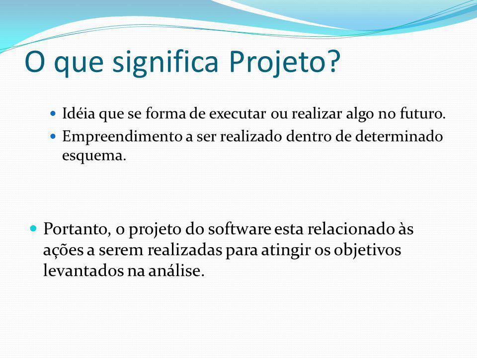 O que significa Projeto?  Idéia que se forma de executar ou realizar algo no futuro.  Empreendimento a ser realizado dentro de determinado esquema.