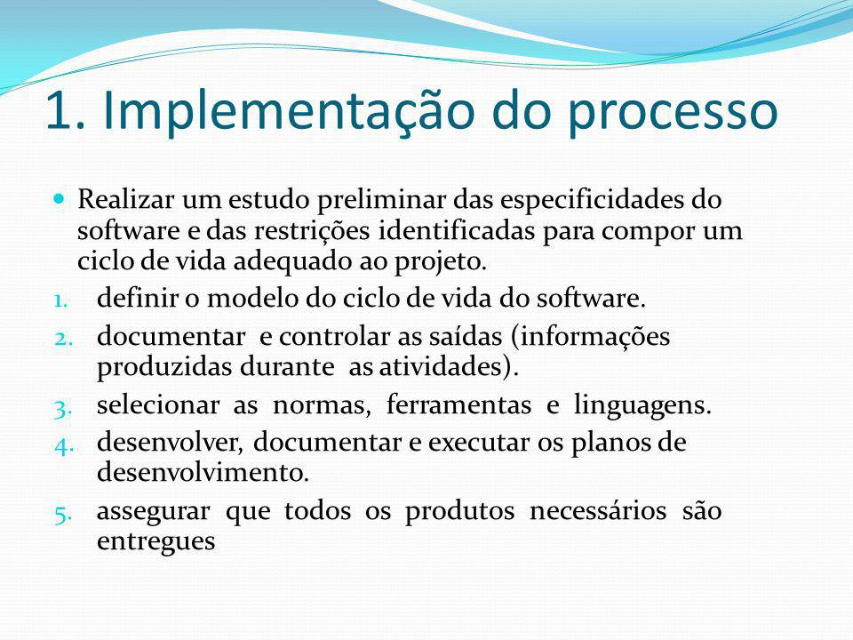 1. Implementação do processo  Realizar um estudo preliminar das especificidades do software e das restrições identificadas para compor um ciclo de vi